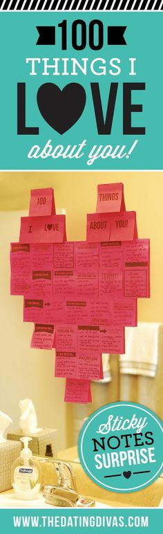 100 things I love about you on sticky - a fun, quick and easy way to write love notes