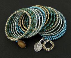 bransoletki - szkło-memory - leaf Beaded Bracelets, Memories, Wire, Jewelry, Memoirs, Souvenirs, Jewlery, Bijoux, Pearl Bracelets