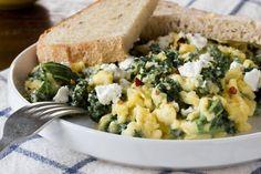 Breakfast Recipe: Scrambled Eggs with Goat Cheese, Greek Yogurt & Greens — Recipes from The Kitchn