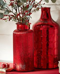Beautiful mercury red glass bottles