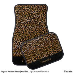#Jaguar Animal #Print | Golden Brown | #Personalize #Car #Mat #zazzlebesties #zazzle #customfloormats $85/95 per set of 4