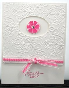 So cute and simple! This is made from Stampin' Up! Bloomin' Marvelous stamp set and a Big Shot embossing folder.  Check out the tutorial on how to make this under my Pinterest board: Lisa Bowell's Stampin' Up! Techniques or find it on YouTube: Lisa Bowell.  Follow my pins for updated cards and techniques.  Shared by Lisa Bowell-Stampin' Up! Demonstrator @ lisastamps.com