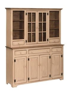 Amish Large Country Pine Hutch Large with lots of farmhouse style. Display plates, cups, utensils, serving pieces, linens and more. Choose stain, paint or distressing to customize this pine hutch. #hutch #largehutch #pinehutch
