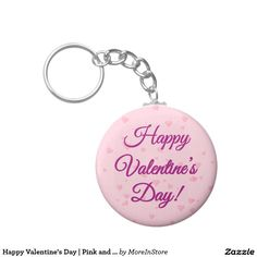 Happy Valentine's Day | Pink and Purple Hearts Basic Round Button Keychain