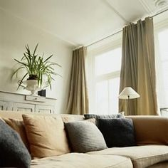 curtains 3 windows   Long curtain rods are very useful for those airy and large windows ...