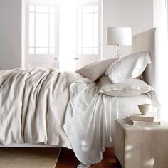 Comfort Wash Solid Linen Flat Sheet at The Company Store - Queen Size Parchment Bed Sheets - Bedding Linens - Sheet Sets - Bedding Collections