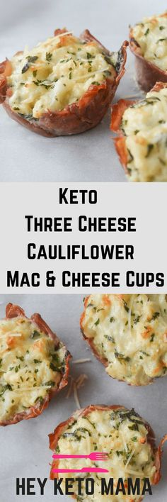 These Keto Three Cheese Cauliflower Mac and Cheese Cups are an easy way to control portions while enjoying a delicious, low carb pasta substitute. | heyketomama.com via @heyketomama