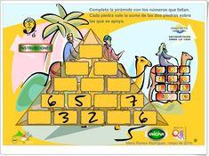"""""""La pirámide de los números"""" (Juego de cálculo mental de Primaria) Primary Maths Games, Math Games, Online Gratis, About Me Blog, Knowledge, Classroom, Education, Eat, Mental Calculation"""