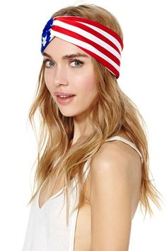 Gold Saturn American Flag Rally Turband at Nasty Gal #nastygal #accessories #usa