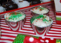Vanilla yogurt with sprinkles for North Pole Breakfast