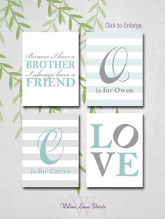 """4  8x10 personalized brothers wall art """"because I have a brother"""" twin boys nursery decor"""