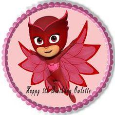 PJ MASKS 4 Owlette Edible Birthday Cake Topper OR Cupcake Topper, Decor - Edible Prints On Cake (Edible Cake &Cupcake Topper)
