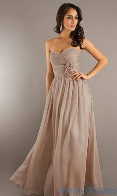 Beige bridesmaid dress idea - would match Clayt's navy blue