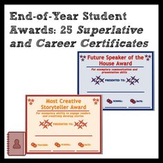 End-of-Year Student Awards: Superlatives and Future Career Certificates Formative And Summative Assessment, 7th Grade Ela, Student Awards, Middle School English, Future Career, End Of Year, Anchor Charts, Reading Comprehension, English Language
