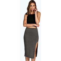 Boohoo Emily Side Split Tube Midi Skirt ($5) ❤ liked on Polyvore featuring skirts, charcoal, boho skirt, a line midi skirt, calf length skirts, a line maxi skirt and knee length maxi skirt