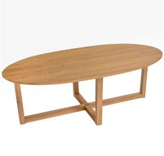 Modern Solid Oak Wood Oval Coffee Cocktail Accent Table in Natural Finish ModHaus