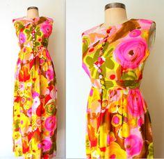 WATERCOLOR FLORAL ✽ 1960s Bright & Bold Maxi Dress: Lolavintage.com
