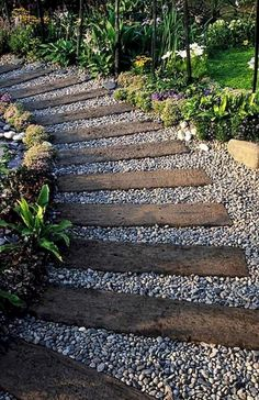 Simple and Affordable Wooden Garden Path Ideas