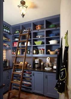 pantry organization ideas |  @TheDailyBasics  ♥♥♥ -- I want a rolling ladder!