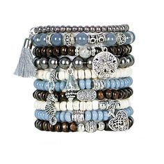 Beaded+Bracelets+Set+of+10+Stretch+Bracelets+Bohemian+Atlantic+Ocean+Themed+Stack+with+Silver+Tone+Charms+and+Tassel