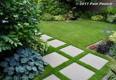 Garden Pavers | ... garden with geometric contemporary style a concrete paver path set in brick border
