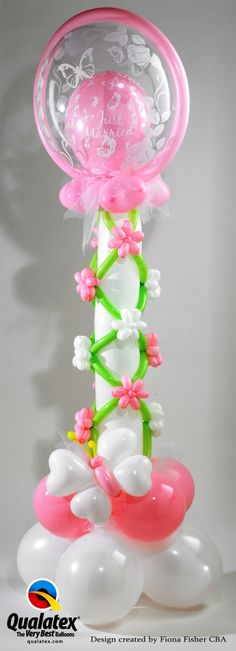 Weddig butterflies and flowers, lovely. Love Balloon, Balloon Flowers, Balloon Bouquet, Balloon Ideas, Ballon Decorations, Balloon Centerpieces, Party Decoration, Qualatex Balloons, Helium Balloons