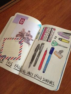 wreck this journal document your dinner here | Cover the page with only office supplies.