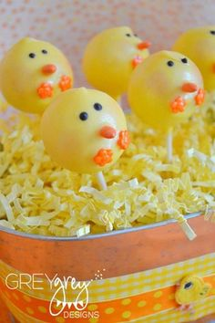 12 Chick Cake Pops Easter Barnyard Farm Friends Party Favors | AutumnLynnsSins - Edibles on ArtFire $25