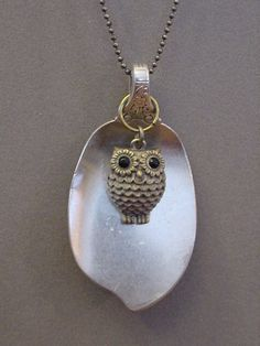 SPOON Necklace with Brass OWL pendant necklace by magiccloset