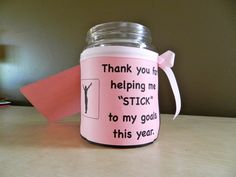 Gymnastics Coach Appreciation Gift Mason Jar is filled with sticks of gum!