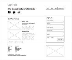 homepage wireframe sketch of a social network digital