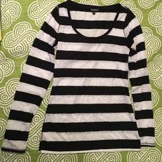 Express long sleeve tee Black and white lace striped long sleeve express tee.  Swoop neck.  White lace sheer.  In great condition! Express Tops Tees - Long Sleeve