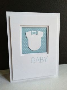 I love onesie dies, they are classics for baby cards! I have a LARGE and medium onesie.now I have 2 from W Plus 9 Designs that are my . Baby Boy Cards, New Baby Cards, Baby Shower Cards, Tarjetas Pop Up, Paper Smooches, Card Making Inspiration, Pretty Cards, Masculine Cards, Card Kit