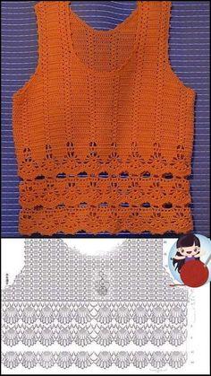 Crochet Twist, Crochet Chart, Thread Crochet, Diy Crochet, Crochet Doilies, Crochet Top, Crochet Patterns, Crochet Blouse, Crochet Poncho