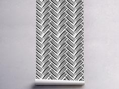 Hand-drawn Herringbone Removable Wallpaper | COLORAYdecor.com
