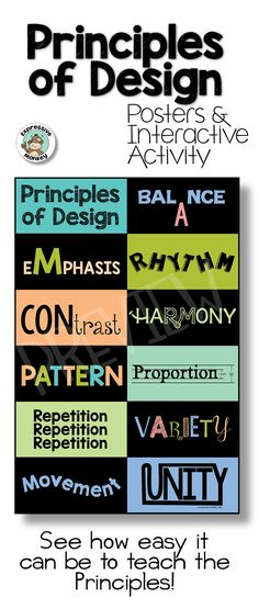 Teach the Principles of Design so that students can easily understand what they mean with this poster and interactive sketchbook activity. This makes a fun art critique lesson.