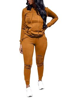 3fbe8d5ae46 Women Casual Ripped Hole Pullover Hoodie Sweatpants 2 Piece Sport Jumpsuits  Outfits Set at Amazon Women s