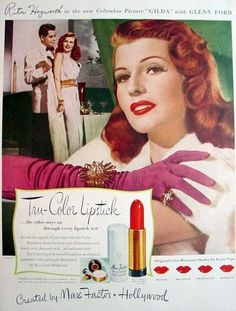 'Glamorous reds, lovely reds, dramatic reds' Tru Color Lipstick for Max Factor featuring Rita Hayworth early 1940's