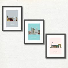 Home Decor: Modern Art Print - Cities Series -London - Paris - New York City - For The Home - Gallery Wall- 5x7 inch- INSTANT DOWNLOAD by MKKMDesigns on Etsy