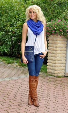Love the jeans with those boots and that simple tank with scarf.