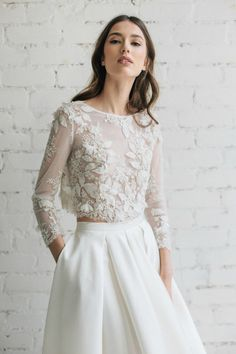 This Bridal Lace Top Bridal Separates Long Sleeve Wedding Top is just one of the custom, handmade pieces you'll find in our bridal gowns & separates shops. Two Piece Wedding Dress, Dream Wedding Dresses, Bridal Dresses, Wedding Dress Crop Top, Malay Wedding Dress, After Wedding Dress, Two Piece Gown, Garden Wedding Dresses, Bride Gowns