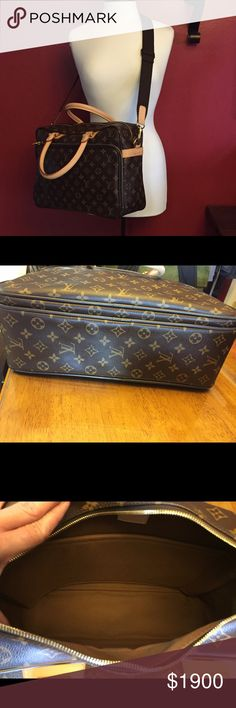 Louis Vuitton Icare Travel Bag.  Used 1 time DETAILED FEATURES 15.4 x 11.4 x 5.9 inches  (Length x Height x Width)   - Monogram canvas, textile lining, trimmings in natural cowhide - Golden color metallic pieces - Double zippered closure - Two wide compartments inside - A zippered pocket outside - Hand held, carried on the shoulder or across the body - Adjustable shoulder strap - Wide strap at the back of the bag to slide onto the Pegase suitcase Louis Vuitton Bags Travel Bags