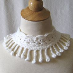 White Wedding Crochet Lace Necklace Collar by KnittingGuru - Not just for brides, this looks great over a dark colored sweater.