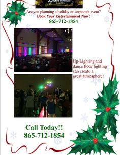 Call today to book your holiday entertainment! Dance Floor Lighting, Smokey Mountain, Corporate Events, Wedding Planning, Entertainment, How To Plan, Create, Book, Holiday