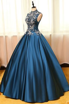 Blue  satins lace applique round neck see-through A-line  long prom dresses,ball gown dresses - occasion dresses by Sweetheartgirls
