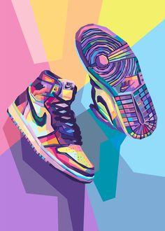 Jordan Shoes Wallpaper, Sneakers Wallpaper, Nike Wallpaper, Wallpaper Art, Fond Pop Art, Jordan Painting, Illustration Pop Art, Pop Art Poster, Dope Wallpapers
