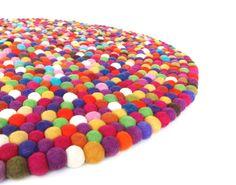 Matto huopapalloista, monivärinen - Cottonhut Fair trade carpet