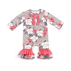 f8ad4d74e214f Coral Pink Floral Ruffle Romper. Ruffle Romper