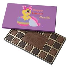 Easter Hatched Chick Purple 2 Box of Chocolates by #MoonDreamsMusic #EasterChocolates #EasterChick #EasterEgg #BelgiumChocolates #BoxofChocolates