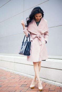 Blush wrap coat with matching gold platform pumps. Perfect for work and after.